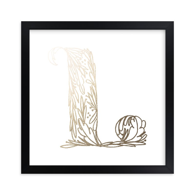 """""""Botanical L"""" - Foil-pressed Art Print by Grace Kreinbrink in beautiful frame options and a variety of sizes."""