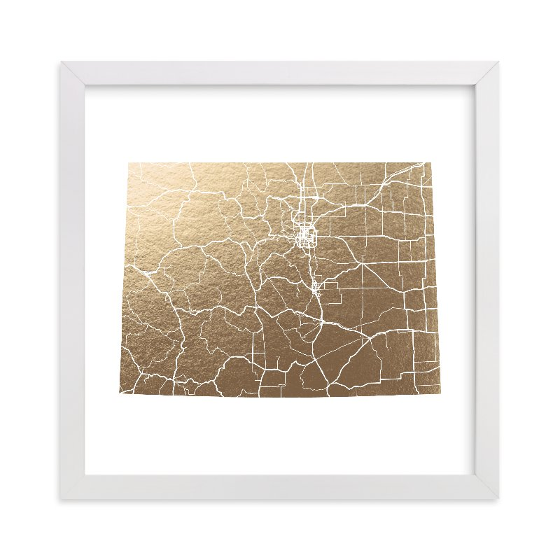 """""""Colorado Map"""" - Foil-pressed Art Print by GeekInk Design in beautiful frame options and a variety of sizes."""