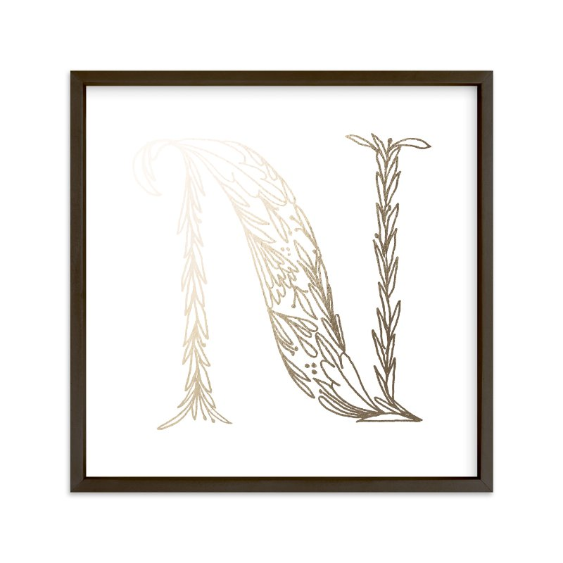 """Botanical N"" - Foil-pressed Art Print by Grace Kreinbrink in beautiful frame options and a variety of sizes."