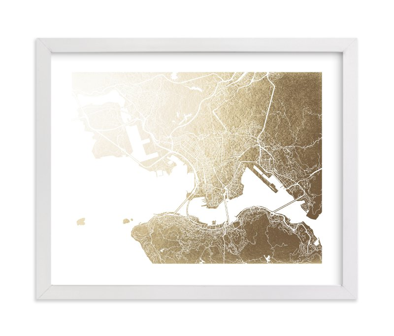"""""""Hong Kong Map"""" - Foil-pressed Art Print by Snow and Ivy in beautiful frame options and a variety of sizes."""