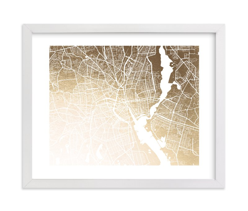 """Providence Map"" - Foil-pressed Art Print by Melissa Kelman in beautiful frame options and a variety of sizes."
