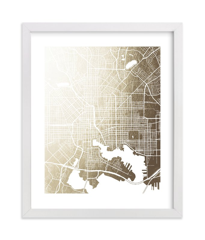"""""""Baltimore Map"""" - Foil-pressed Art Print by Laura Condouris in beautiful frame options and a variety of sizes."""