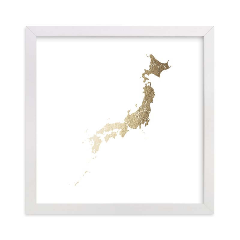 """Japan Map"" - Foil-pressed Art Print by Jorey Hurley in beautiful frame options and a variety of sizes."