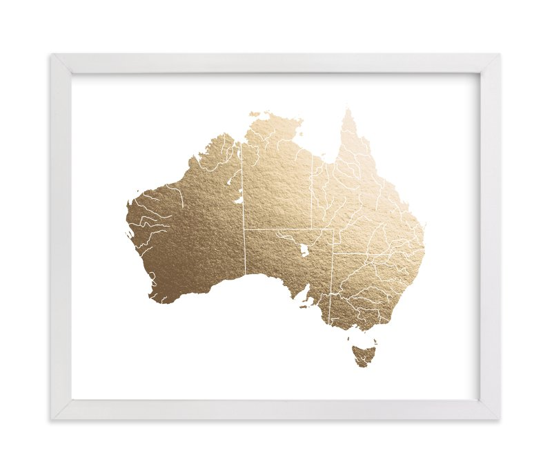 """Australia Map"" - Foil-pressed Art Print by Jorey Hurley in beautiful frame options and a variety of sizes."