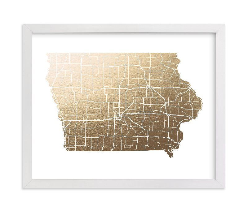 """""""Iowa Map"""" - Foil-pressed Art Print by GeekInk Design in beautiful frame options and a variety of sizes."""