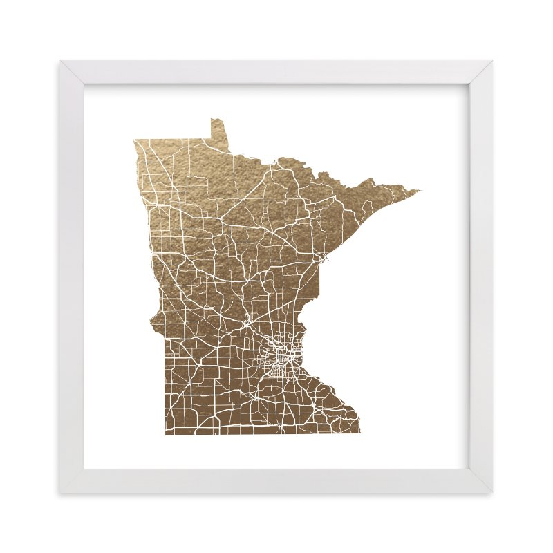 """""""Minnesota Map"""" - Foil-pressed Art Print by GeekInk Design in beautiful frame options and a variety of sizes."""
