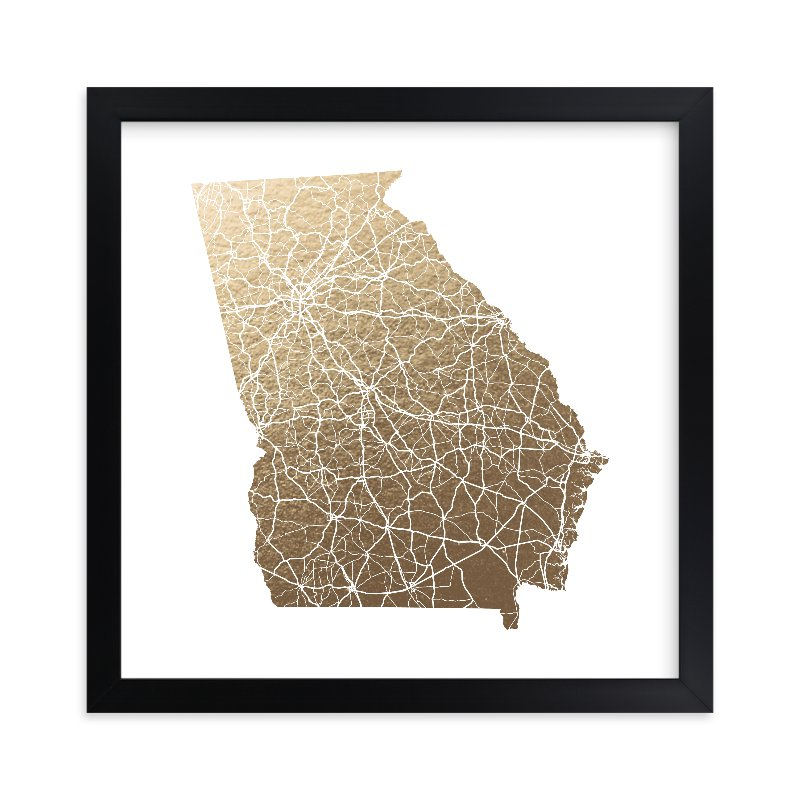 """Georgia Map - Filled"" - Foil-pressed Art Print by GeekInk Design in beautiful frame options and a variety of sizes."