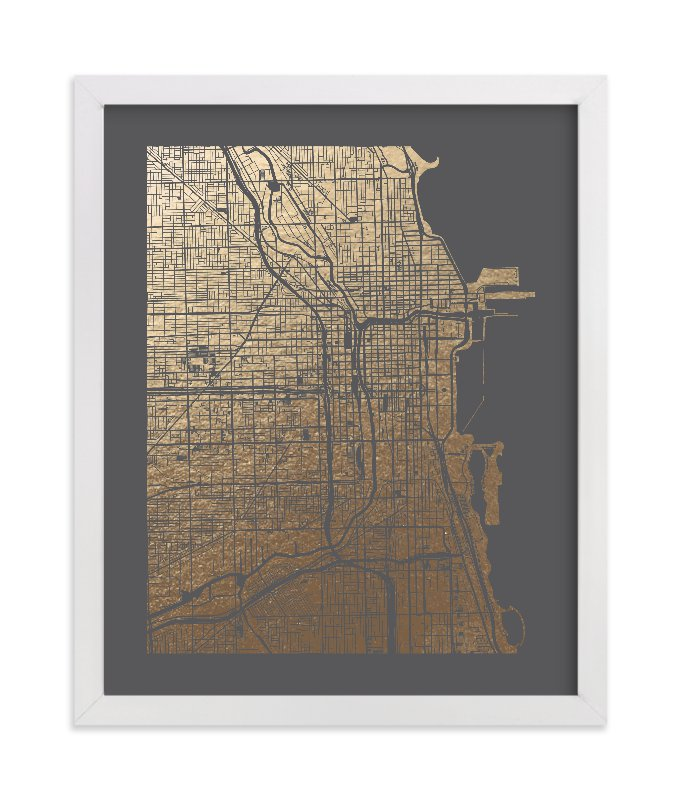 """Chicago Map"" - Foil-pressed Art Print by Alex Elko Design in beautiful frame options and a variety of sizes."
