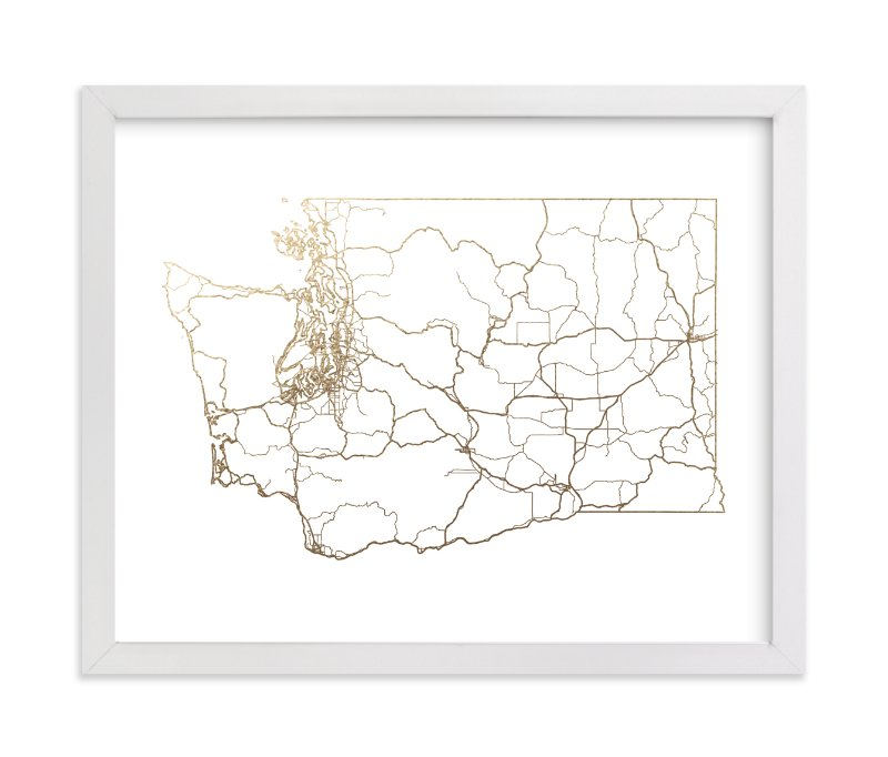 """""""Washington Map"""" - Foil-pressed Art Print by GeekInk Design in beautiful frame options and a variety of sizes."""