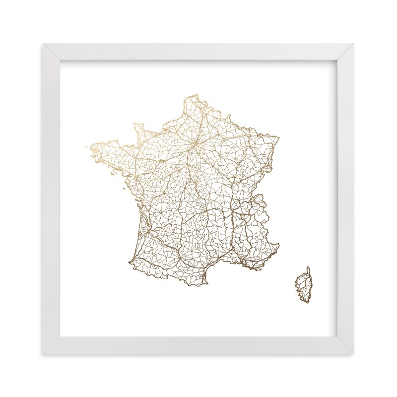 """""""France Map"""" - Foil-pressed Art Print by GeekInk Design in beautiful frame options and a variety of sizes."""