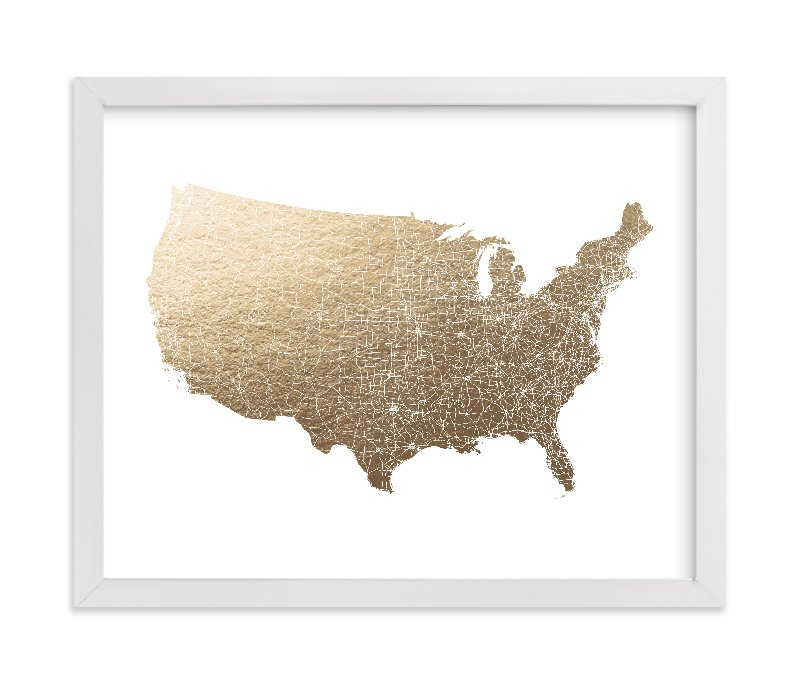 """""""United States Map Filled"""" - Foil-pressed Art Print by GeekInk Design in beautiful frame options and a variety of sizes."""