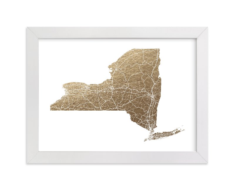 """New York Map Filled"" - Foil-pressed Art Print by GeekInk Design in beautiful frame options and a variety of sizes."