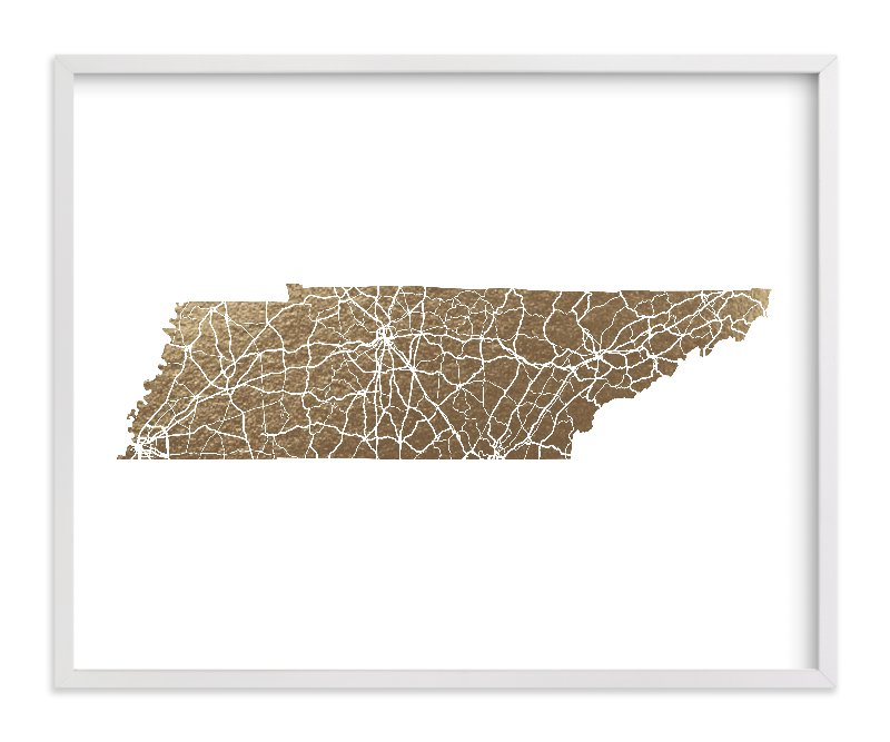 """""""Tennessee Map"""" - Foil-pressed Art Print by GeekInk Design in beautiful frame options and a variety of sizes."""