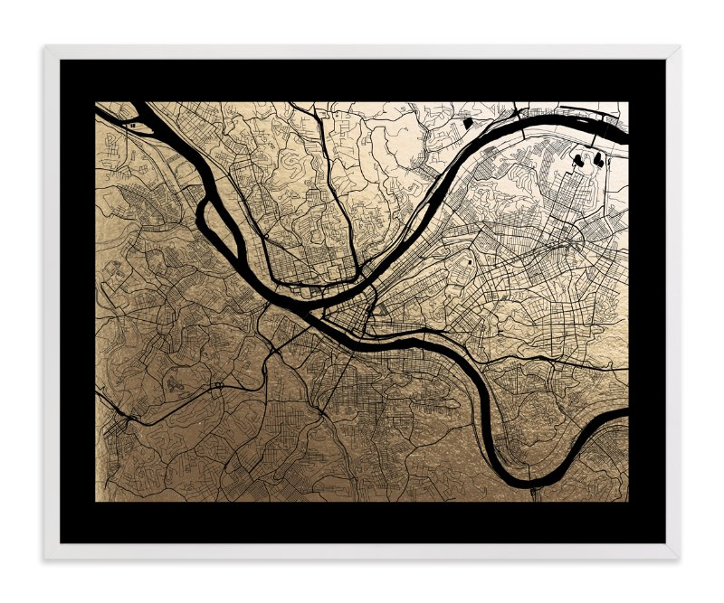 """Pittsburgh Map"" - Foil-pressed Art Print by Alex Elko Design in beautiful frame options and a variety of sizes."