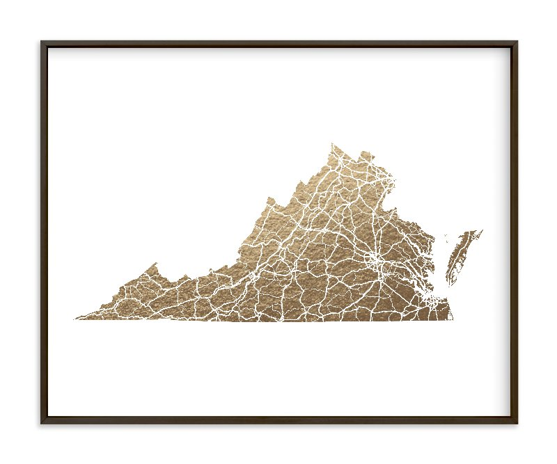 """Virginia Map - Filled"" - Foil-pressed Art Print by GeekInk Design in beautiful frame options and a variety of sizes."