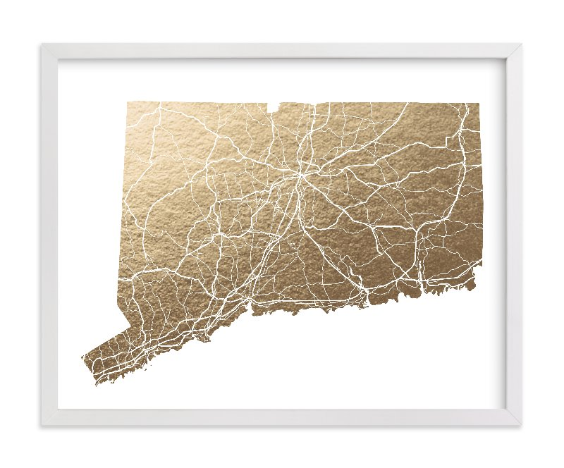"""""""Connecticut Map"""" - Foil-pressed Art Print by GeekInk Design in beautiful frame options and a variety of sizes."""