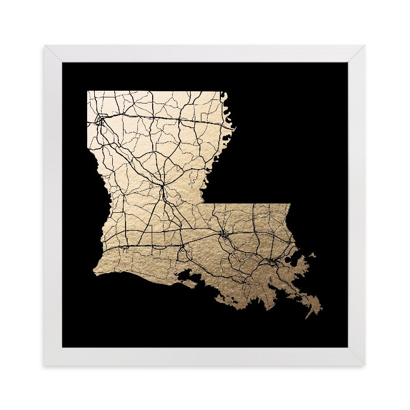 """""""Louisiana Map"""" - Foil-pressed Art Print by GeekInk Design in beautiful frame options and a variety of sizes."""