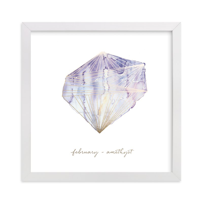 """""""February - Amethyst"""" - Foil-pressed Art Print by Naomi Ernest in beautiful frame options and a variety of sizes."""