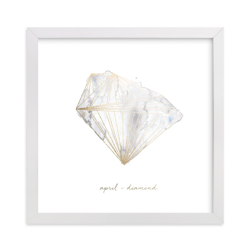 """April - Diamond"" - Foil-pressed Art Print by Naomi Ernest in beautiful frame options and a variety of sizes."