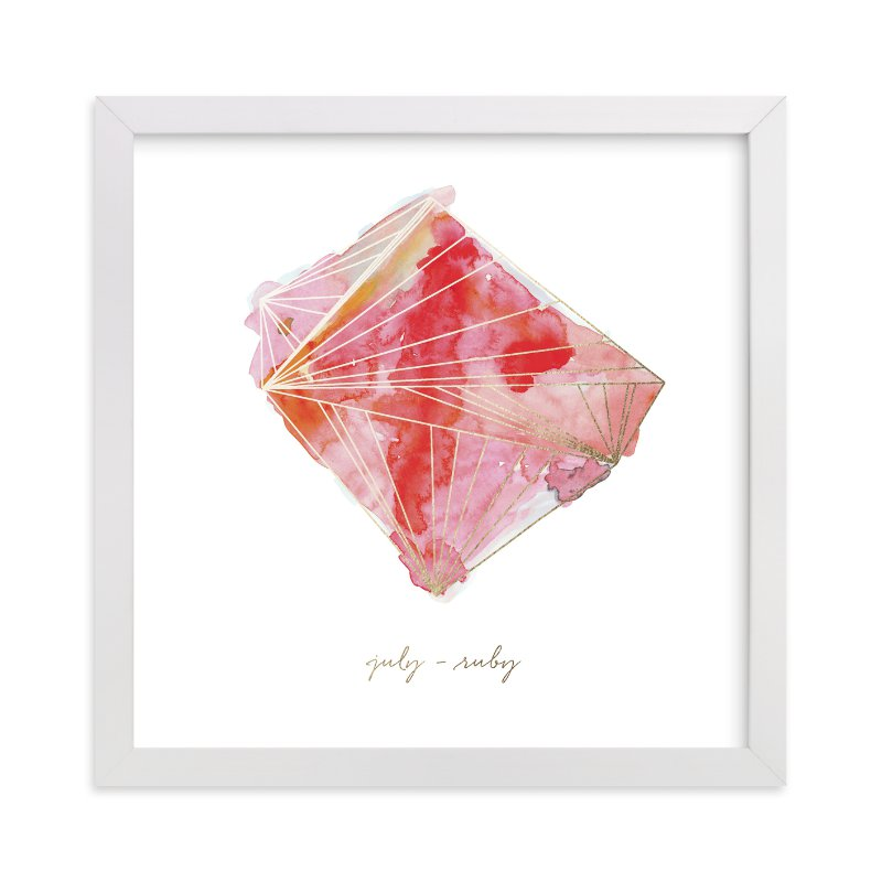 """July - Ruby"" - Foil-pressed Art Print by Naomi Ernest in beautiful frame options and a variety of sizes."