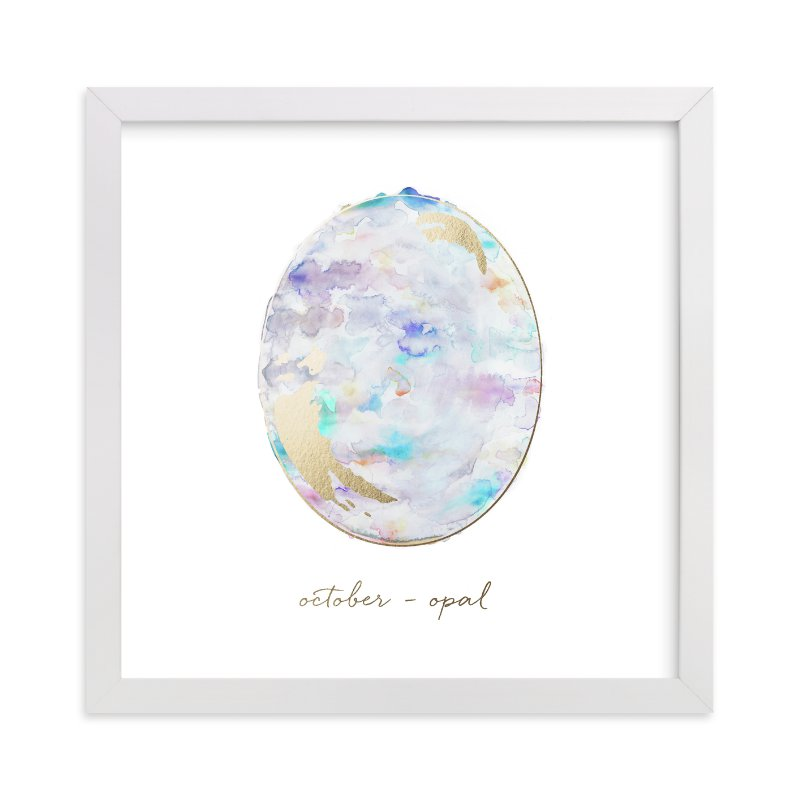 """October - Opal"" - Foil-pressed Art Print by Naomi Ernest in beautiful frame options and a variety of sizes."