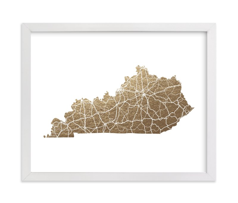 """Kentucky Map"" - Foil-pressed Art Print by GeekInk Design in beautiful frame options and a variety of sizes."