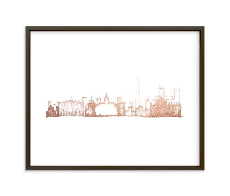 """Washington D.C. Skyline"" - Foil-pressed Art Print by Phrosne Ras in beautiful frame options and a variety of sizes."
