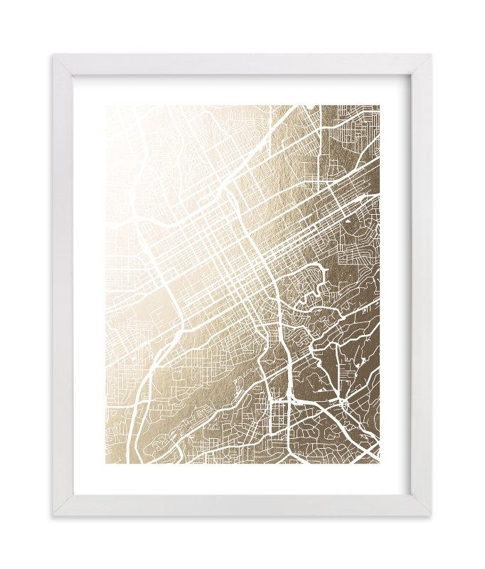 """""""Birmingham Map"""" - Foil-pressed Art Print by Laura Condouris in beautiful frame options and a variety of sizes."""