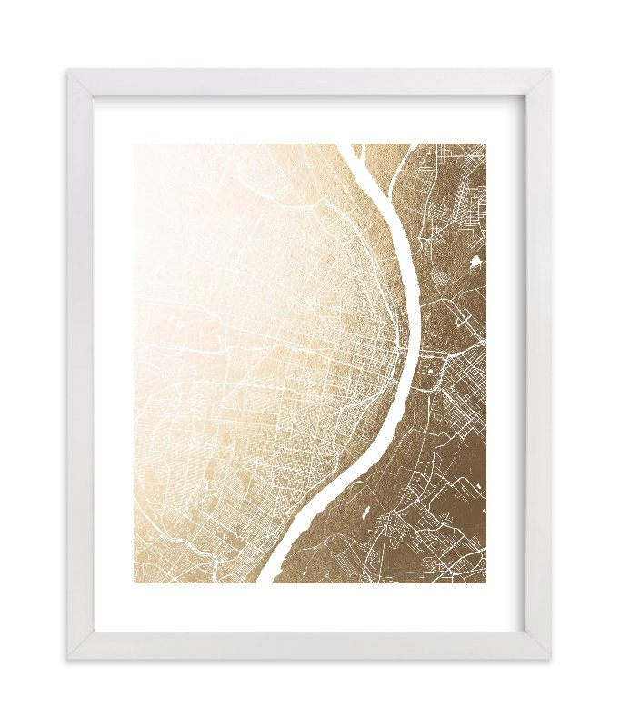 """""""St. Louis Map"""" - Foil-pressed Art Print by Melissa Kelman in beautiful frame options and a variety of sizes."""
