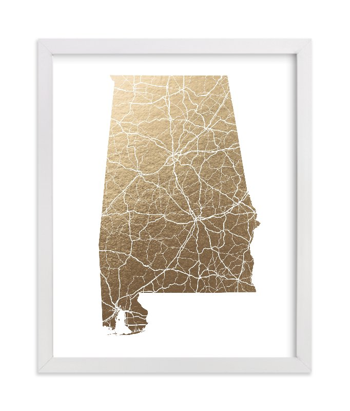 """""""Alabama Map"""" - Foil-pressed Art Print by GeekInk Design in beautiful frame options and a variety of sizes."""
