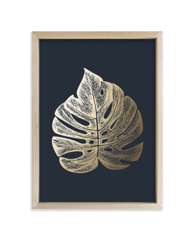 """Leaf Study 3"" - Foil-pressed Art Print by annie clark in beautiful frame options and a variety of sizes."