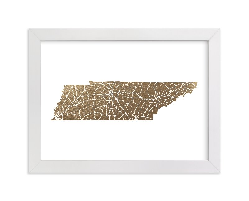 """Tennessee Map"" - Foil-pressed Art Print by GeekInk Design in beautiful frame options and a variety of sizes."