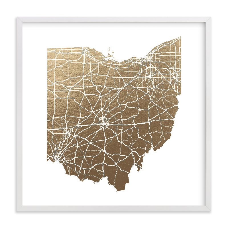 """""""Ohio Map"""" - Foil-pressed Art Print by GeekInk Design in beautiful frame options and a variety of sizes."""