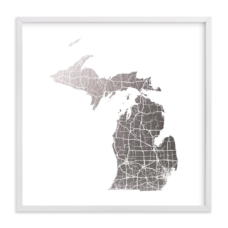 """""""Michigan Map"""" - Foil-pressed Art Print by GeekInk Design in beautiful frame options and a variety of sizes."""