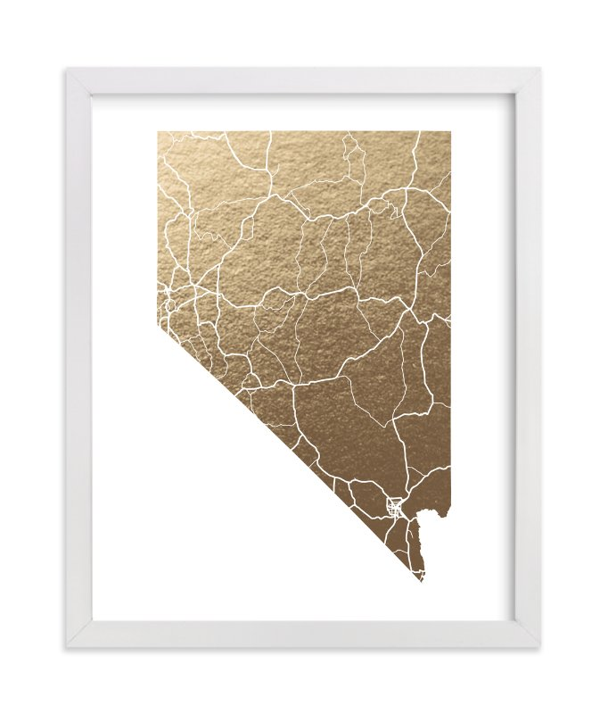 """Nevada Map"" - Foil-pressed Art Print by GeekInk Design in beautiful frame options and a variety of sizes."