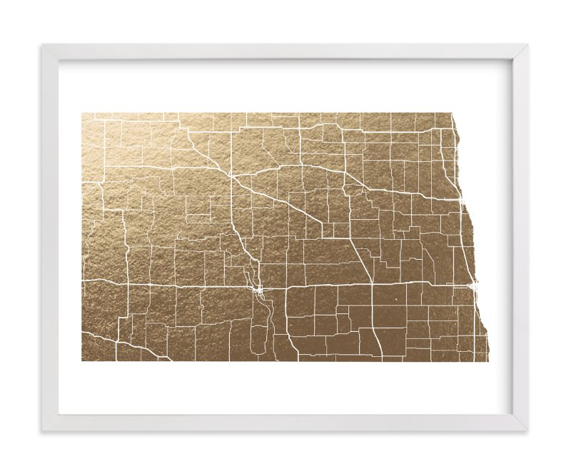 """""""North Dakota Map"""" - Foil-pressed Art Print by GeekInk Design in beautiful frame options and a variety of sizes."""