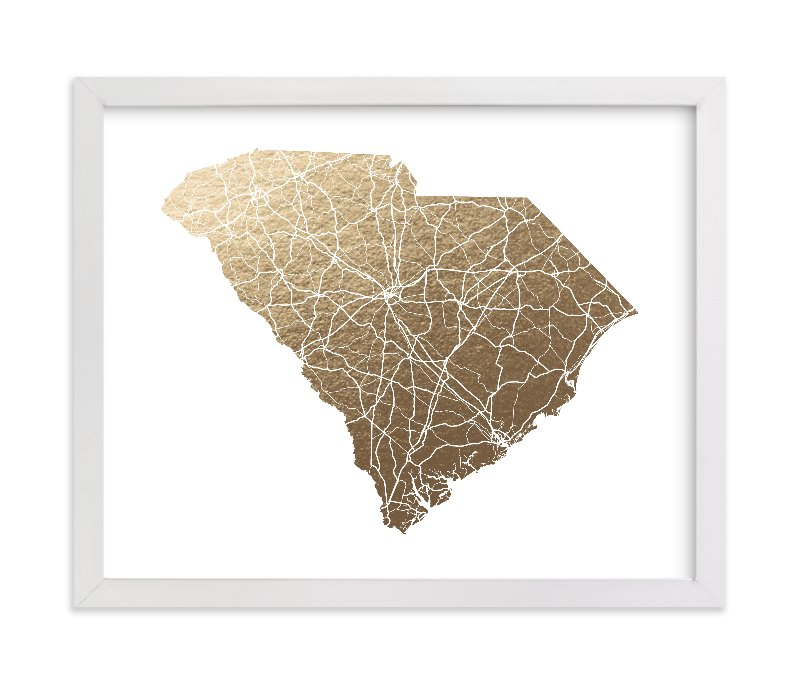 """""""South Carolina Map"""" - Foil-pressed Art Print by GeekInk Design in beautiful frame options and a variety of sizes."""
