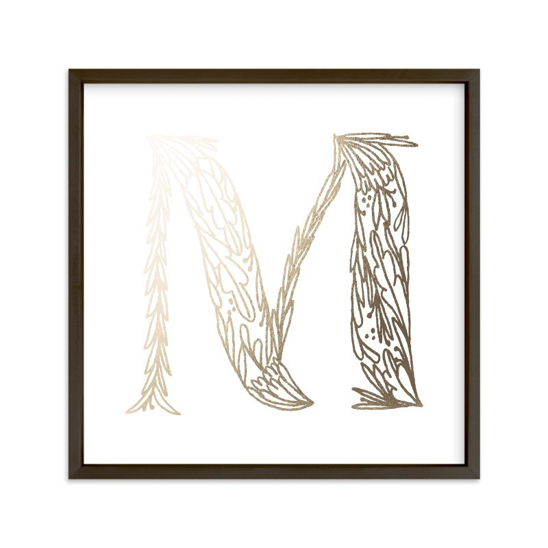 """Botanical M"" - Foil-pressed Art Print by Grace Kreinbrink in beautiful frame options and a variety of sizes."