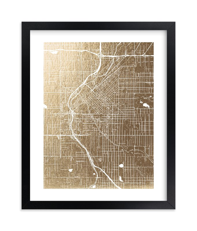 """Denver Map"" - Foil-pressed Art Print by Alex Elko Design in beautiful frame options and a variety of sizes."