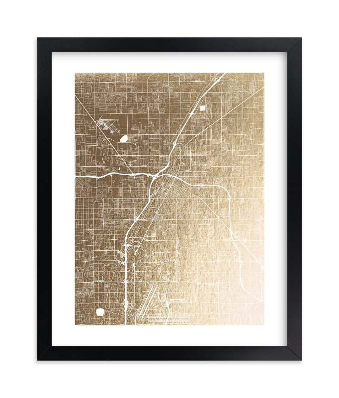 """""""Las Vegas Map"""" - Foil-pressed Art Print by Alex Elko Design in beautiful frame options and a variety of sizes."""