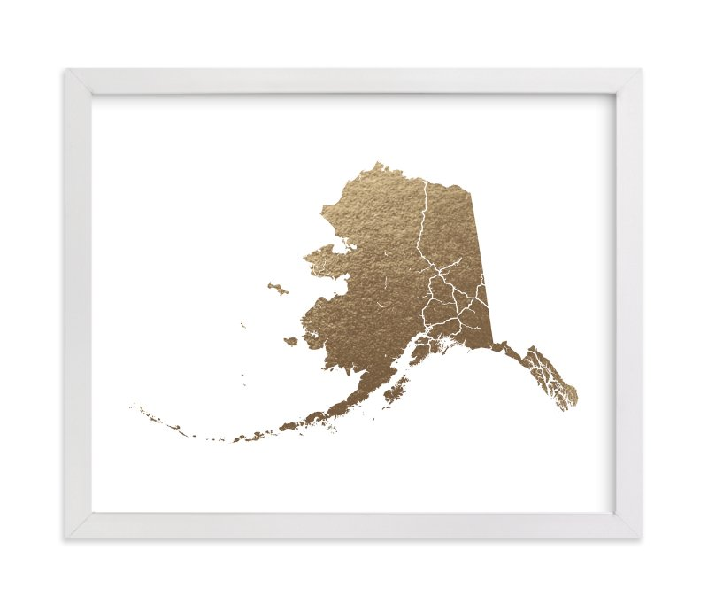"""""""Alaska Map"""" - Foil-pressed Art Print by GeekInk Design in beautiful frame options and a variety of sizes."""