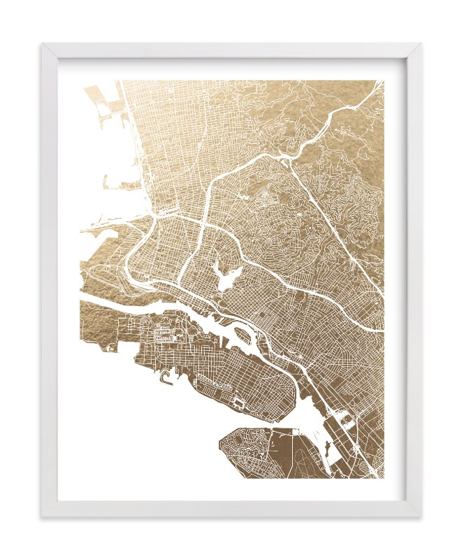 """""""East Bay Map"""" - Foil-pressed Art Print by Alex Elko Design in beautiful frame options and a variety of sizes."""