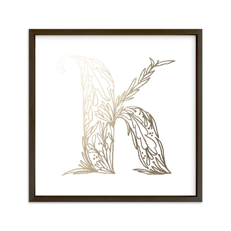 """""""Botanical K"""" - Foil-pressed Art Print by Grace Kreinbrink in beautiful frame options and a variety of sizes."""