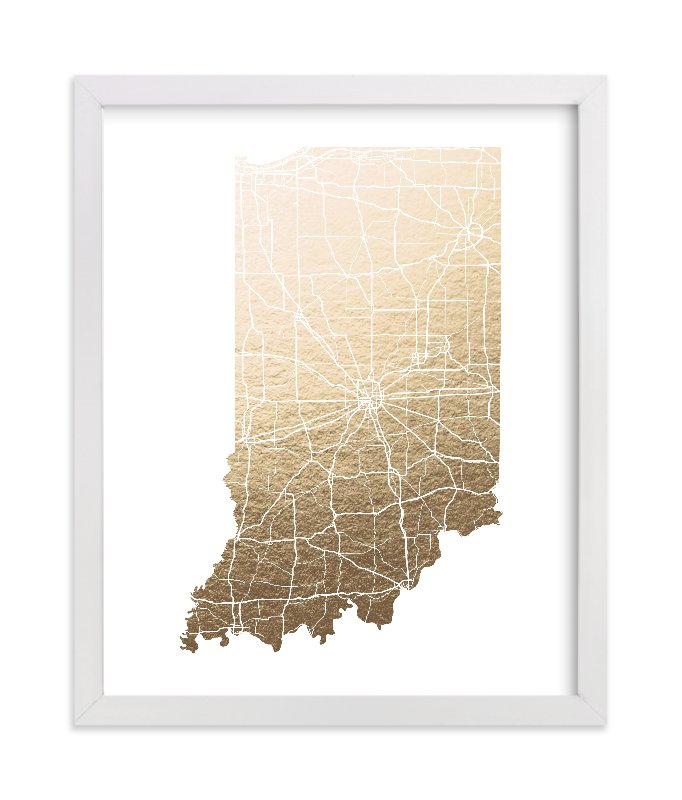 """""""Indiana Map"""" - Foil-pressed Art Print by GeekInk Design in beautiful frame options and a variety of sizes."""