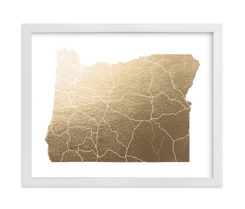 """""""Oregon Map"""" - Foil-pressed Art Print by GeekInk Design in beautiful frame options and a variety of sizes."""