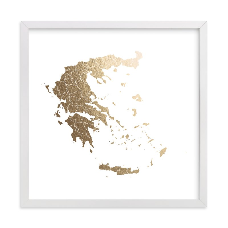 """Greece Map"" - Foil-pressed Art Print by Jorey Hurley in beautiful frame options and a variety of sizes."