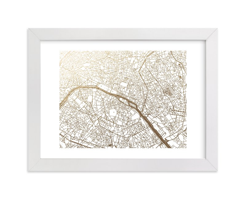 """""""Paris Map"""" - Foil-pressed Art Print by Alex Elko Design in beautiful frame options and a variety of sizes."""