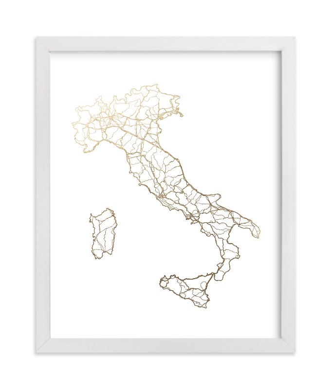 """Italy Map"" - Foil-pressed Art Print by GeekInk Design in beautiful frame options and a variety of sizes."