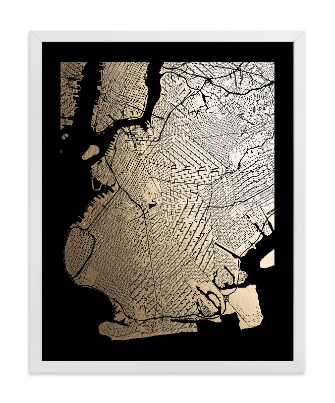 """""""Brooklyn Map"""" - Foil-pressed Art Print by Alex Elko Design in beautiful frame options and a variety of sizes."""