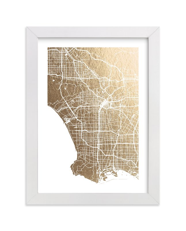 Los Angeles Map Foil-Pressed Wall Art by Alex Elko Design | Minted